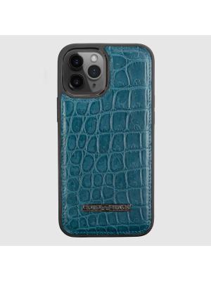 غطاء ايفون 12 برو ماكس جلد تمساح - لون بترولي