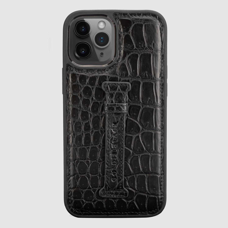 غطاء ايفون 12 برو ماكس مع حامل اصبع جلد تمساح -لون اسود
